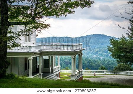 Moses Cone Manor On Cloudy Day In Blue Ridge Mountains