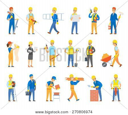 Builders and engineers with tools, bricks or tiles set. Workers in hardhats hold ladder, spade near wheelbarrow, toolkit, drill vector illustrations. poster