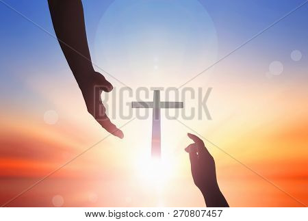 Jesus Helping Hand Concept:world Peace Day Help Hand On Sunset Background