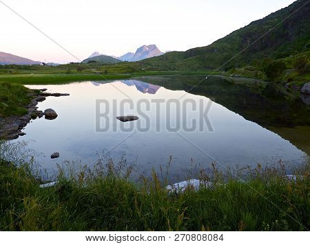Lake In The North Of Norway, Lofoten In The Sommar Night