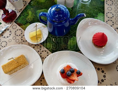 Russian Traditional Tea Dessert Berry Cake With A Tea