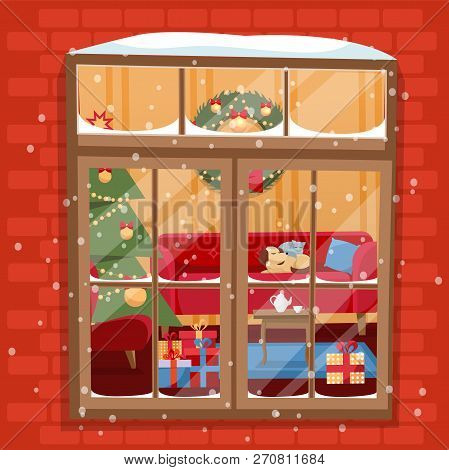 Winter Night Scene Of Window With Christmas Tree, Furnuture, Wreath, Pile Of Gifts And Pets. Cozy Fe