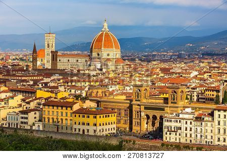 Aerial View Of Historical Medieval Buildings With Duomo Santa Maria Del Fiore Dome In Old Town Of Fl