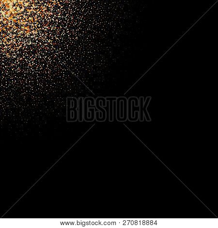 Gold Glitter Texture On A Black Background. Golden Explosion Of Confetti. Golden Grainy Abstract Tex