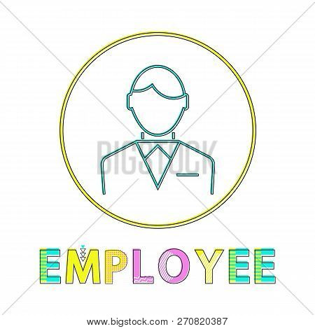 Employee Working Man Outline Businessman Wearing Formal Suit With Bow. Icon Of Male In Circle Person