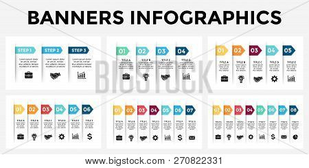 Vector Arrows Banners Infographic Templates Set. Stickers Paper Presentation Slide. Business Labels