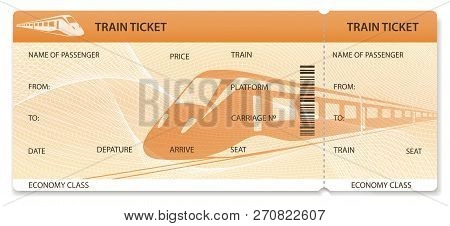 Vector Train Ticket, Rail Pass Design, Traveler Check (template / Layout) With Train On Orange Backg