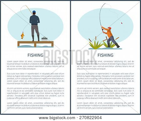 Fishing Or Angling Hobby Or Sport Activity Poster With Text Sample. Man With Spinning And Fish On Pi