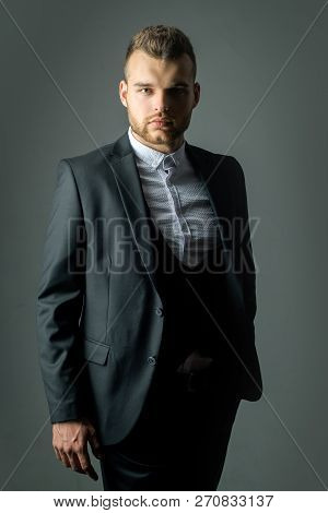 Classic Costume And Trend. Rich Gay Dressed In Classic Suits. Casual Dress. Fashion Suit. Luxury Men