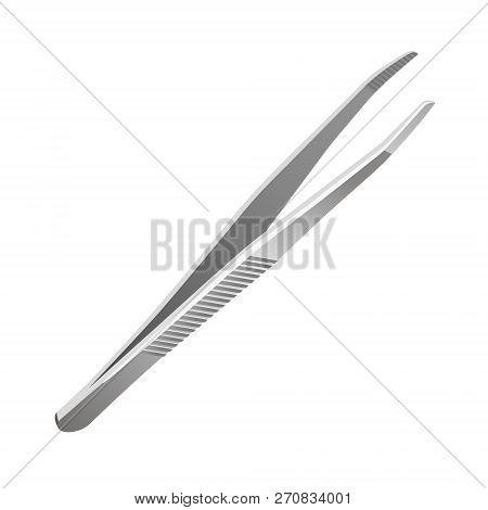 Vector Isolated Illustration Of Realistic Metal Tweezers.