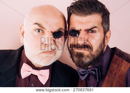 Old father and son. Fathers day. Crazy emotions. Comical dad and son. Funny expression people. Daddy comic. Happiness together poster