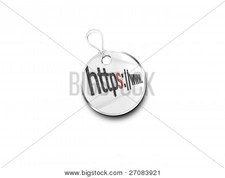 Silver Tag Marked With  Internet Address Bar Accented Red
