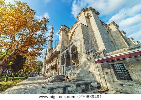 Istanbul, Turkey - October 13, 2018: Exterior View Of Suleymaniye Mosque Through The Trees In A Gard