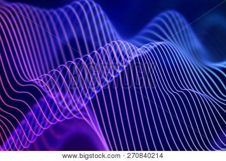 3d Sound Waves. Big Data Abstract Visualization. Digital Technology Concept: Virtual Landscape. Futu