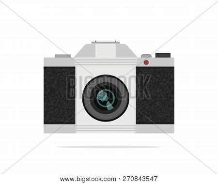 Icon Of Vintage Slr-camera With Optical Lens. Retro Device With Texture. Technology Theme. Colorful