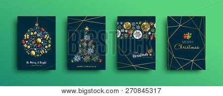 Merry Christmas Greeting Card Set With New Year Text Quote And Gold Luxury Decoration. Includes Deer