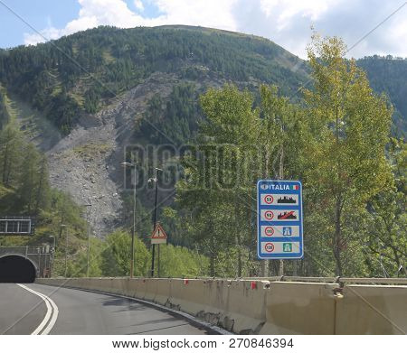 Italian border with the road sign with the obligations and bans on the Italian roads poster