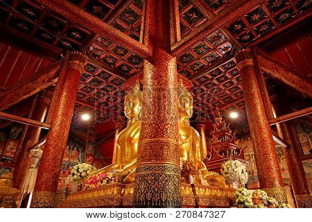 Impressive Four-sided Seated Buddha Images With Gorgeous Lacquered Teak Wood Pillars In Wat Phumin T