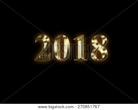 Luxury Golden 2018 New Year On Black Background. Happy New Year 2018.