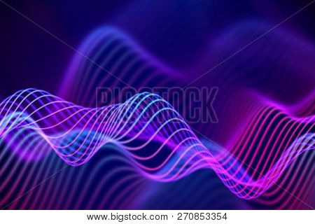 Big Data Abstract Visualization: Business Charts Analytics. 3d Sound Waves. Digital Surface With Flo