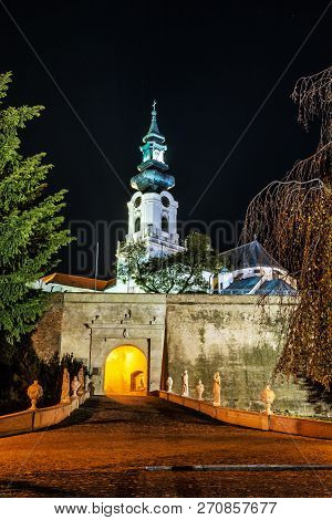 Ancient Castle In Nitra, Slovak Republic. Night Scene. Cultural Heritage. Architectural Theme.