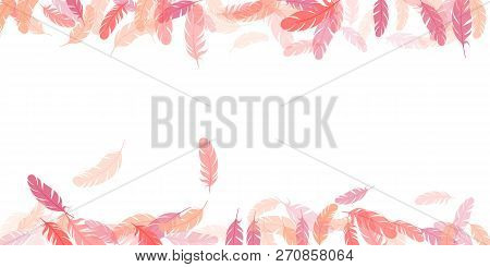 Feather Pattern Frame Cool Minimalist Border Background. Print With Pink Plumelet. Editable Backdrop