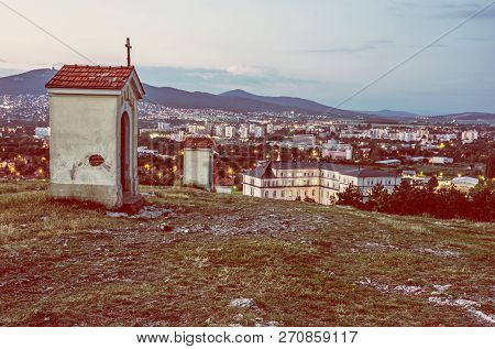Calvary In Nitra City With Zobor Hill, Slovak Republic. Religious Place. Evening Scene. Cultural Her
