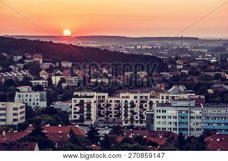 Nitra City, Slovak Republic. Sunset Scene. Evening Time. Travel Destination. Red Photo Filter.