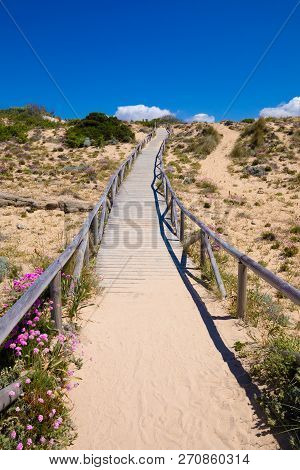 Wooden Walkway With Sand Beach To The Top Of Hill