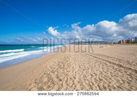 Large Sandy Beach In Atlanterra Next To Zahara De Los Atunes