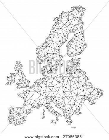 Polygonal Mesh Map Of Euro Union In Black Color. Abstract Mesh Lines, Triangles And Points With Map
