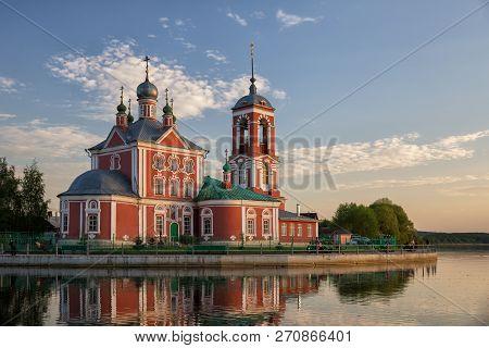 Church Of The Forty Sebastian Martyrs On Shore Of Lake Pleshcheyevo At Sunset, Pereslavl-zalessky, R