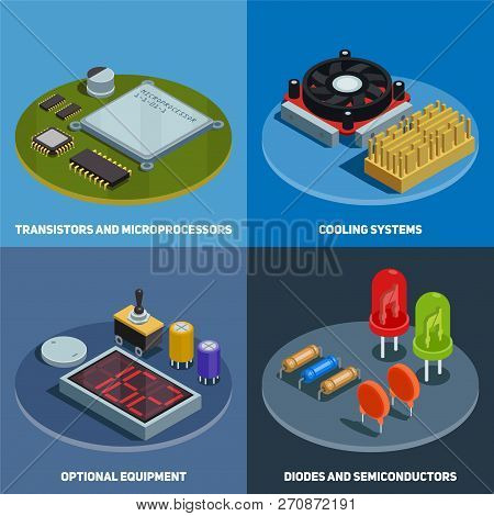 Semiconductor 2x2 Design Concept Set Of Transistors Microprocessors Diodes And Cooling Systems Squar
