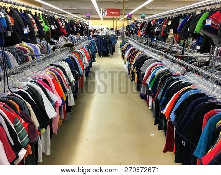 St. Albert, Alberta, Canada - November 25th, 2018: A Colourful Row Of Shirts For Sale At The Local V
