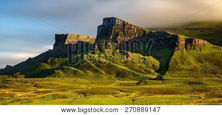 Rocks Of Quiraing Group At Trotternish Ridge In Sunset Light, Isle Of Skye, Scotland