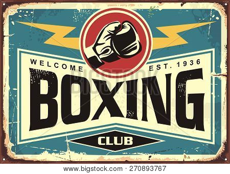 Boxing Club Retro Tin Sign Template Design. Sport And Recreation Promotional Poster. Vector Illustra