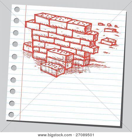 Scribble brick wall