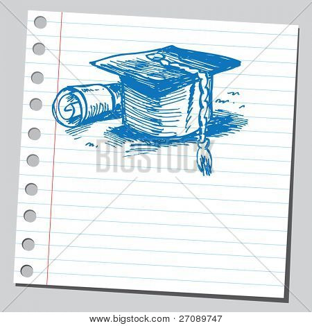 Scribble graduation cap and diploma