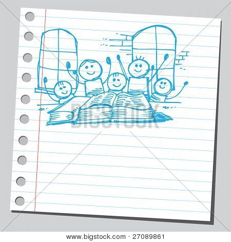 Scribble kids in classroom