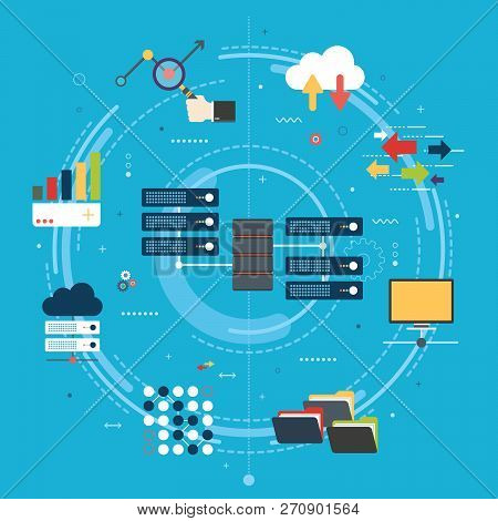 Network Server Of Computers And Business Intelligence.database Security System. Backup Data Traffic