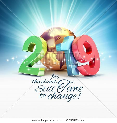 Ecological Greeting Card - 2019 New Year Colorful Date Number Composed With A Gold Planet Earth, Lig