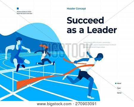 People Running On The Stadium To Win And Succeed. Bussines And Leadership. Flat Vector Illustration.