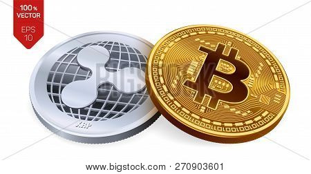 Bitcoin And Ripple. 3d Isometric Physical Coins. Digital Currency. Cryptocurrency. Silver Coin With