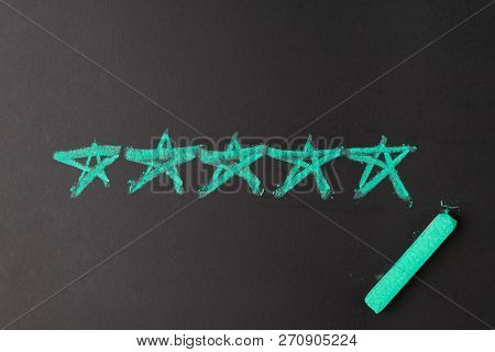 User Reviews, Customer Feedback Or Ux User Experience Concept, Chalk Drawing Pastel Green 5 Stars On
