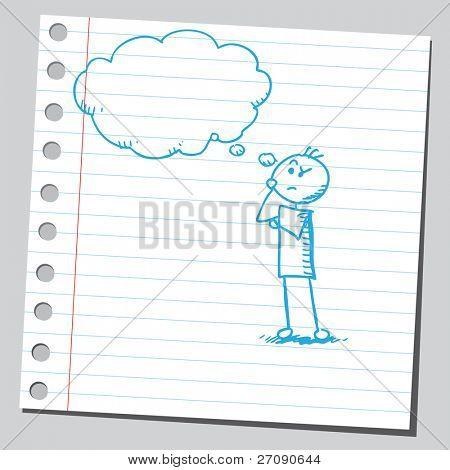 Hand drawn man thinking
