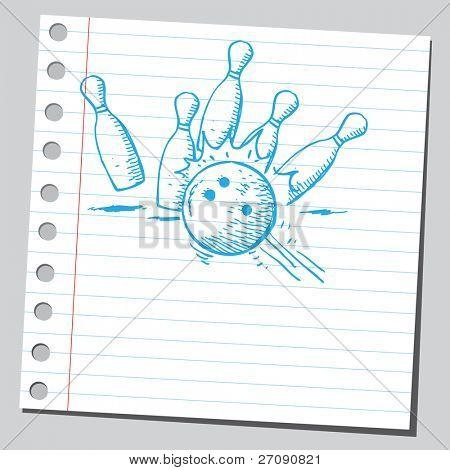 Hand drawn bowling ball strike