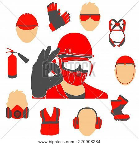 Occupational Safety And Health Vector Icons And Signs Set. Protective Helmet Goggles, Footwear, And