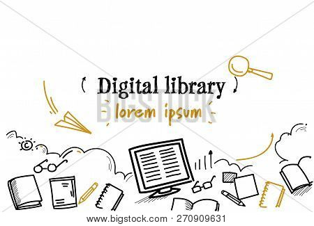 Media Book Reading Ebook Digital Library Concept Sketch Doodle Horizontal Isolated Copy Space
