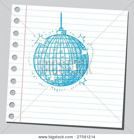 Scribble style illustration of a disco ball poster