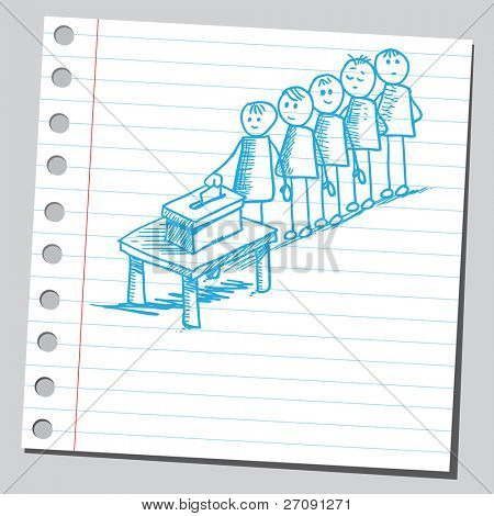 Sketch style vector illustration of a people voting